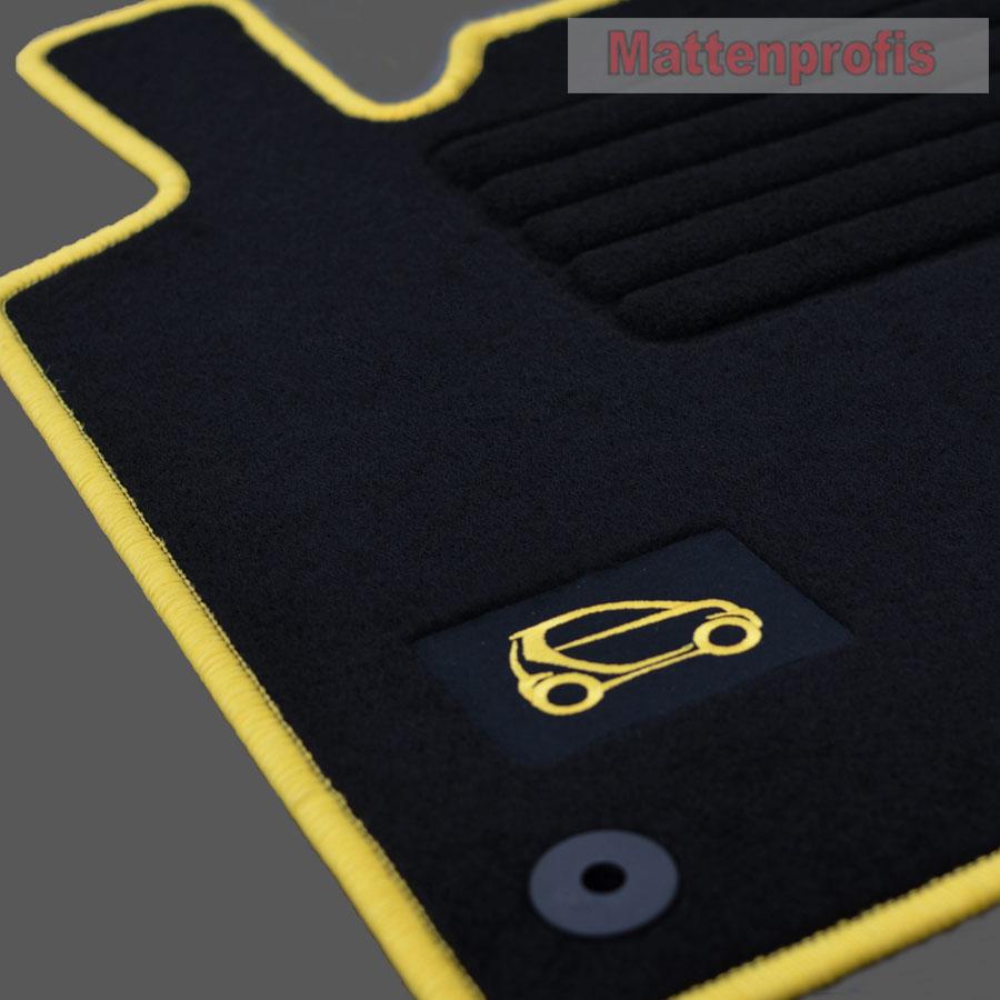 velours fu matten kofferraum logo gelb smart fortwo 451 coupe ab bj 1 2007 ebay. Black Bedroom Furniture Sets. Home Design Ideas