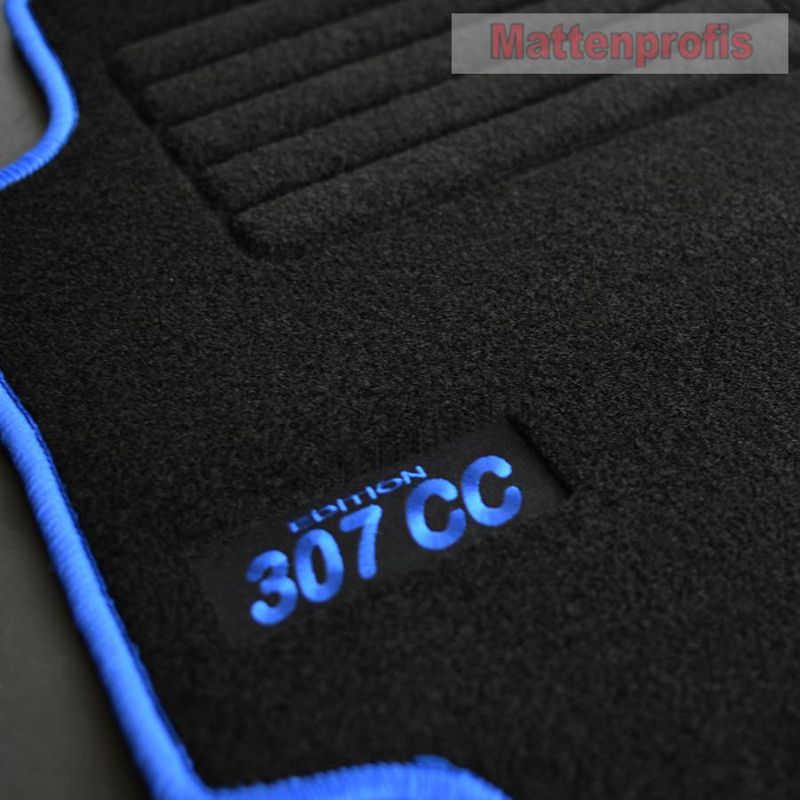 MP Velours Logo Fußmatten passend für Peugeot 307 CC ab Bj.10//2001-2009 silber