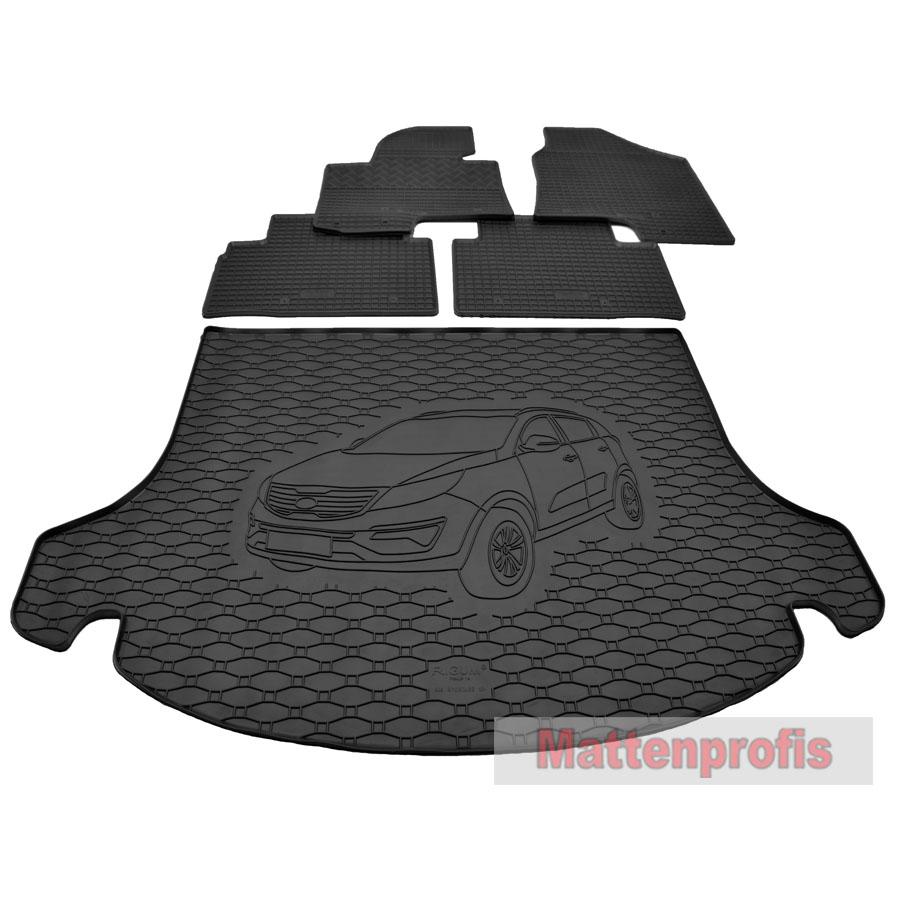 Kofferraumwanne für Kia Sportage 3 III SL 2010-2015 Set Gummimatten Fußmatten