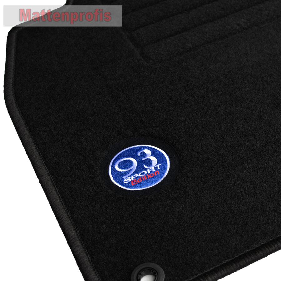 Heute 4-tlg. 09//2002 MP Velours Logo Fußmatten für Saab 9-3 Limousine ab Bj